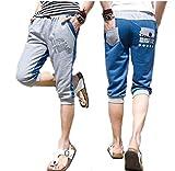 (メイク トゥ ビー) Make 2 Be スウェット ハーフ パンツ メンズ ボーイズ ショート トレーニング ウェア スポーツ カジュアル ジャージ MF15 (Blue_XXXLサイズ)