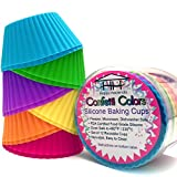 Confetti Colors Silicone Baking Cups - Set of 12 Reusable Muffin/Cupcake Liners in Festive Colors