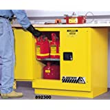 "Justrite Sure-Grip EX 892300 Safety Cabinet for Flammable Liquids, 2 Door, Undercounter Cabinet, Manual Close, 22 Gallon, 35"" Height x 35"" Width x 22"" Depth, Steel, Yellow"