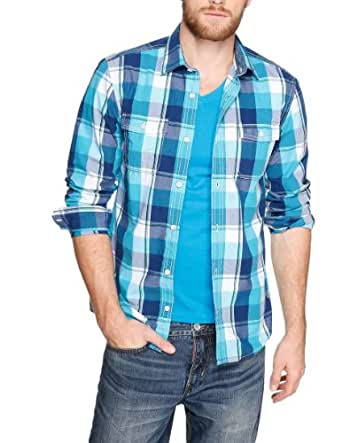 S.Oliver - Chemise Casual - Col Chemise Classique - Manches Longues Homme - Bleu - Blau (Turquoise) - FR : XXX - Large (Taille Fabricant : 3Xl) (Brand size: 3XL)