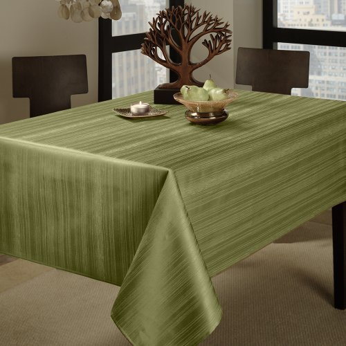 Benson Mills Flow Spillproof 60-Inch By 84-Inch Fabric Tablecloth, Sage Color: Sage Size: 60 By 84 Home & Kitchen front-494296