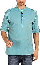 Svanik Men's Cotton Kurta (SVCK1204L, Light Blue, L)