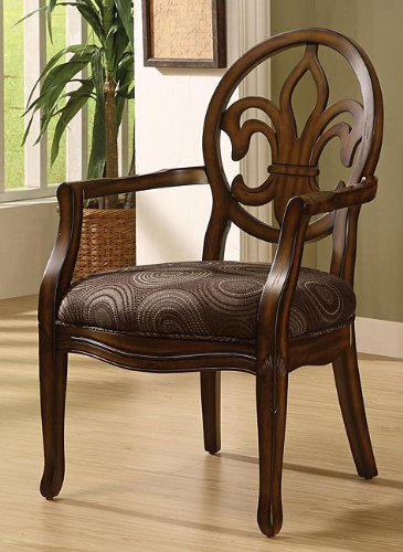 Fleur de lis wood chocolate dining chair with cut out back - Cheap comfortable living room chairs ...