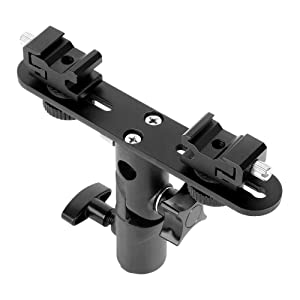 TOAZOE Adjustable Double Flash Bracket Dual Hot Shoe Speedlight Stand Umbrella Holder Light Stand Bracket Mount 1/4 to 3/8'' for Studio Video DSLR Camera Canon Nikon Yongnuo Godox (Color: dual flash bracket)