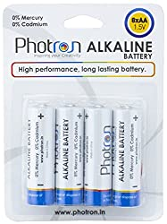 Photron High Performance AA Alkaline Battery 8 Pack, Anti-Leak Protection, PHT-ALK-BP8AALR6 / LR6/MIGNON 1.5V - Total 8 AA BATTERIES