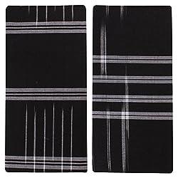 SRS Men's Cotton Lungis - Pack of 2 (Black)