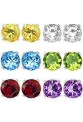 Sterling Silver 4mm Amethyst Topaz Garnet Citrine Peridot Stud Earrings Set of 6