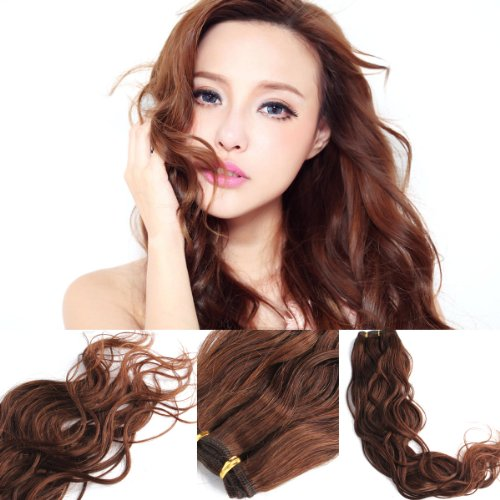 """Yesurprise 100% Real Human Hair Natural Wave Wavy Curly Weaving Weft Extensions 50G #4 14"""" 16"""" 18"""" 20"""" 22"""" 24"""" 26"""" (26 Inch)"""