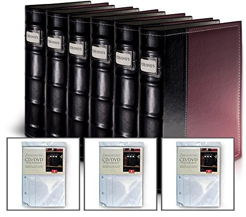 Burgundy DVD Organization Binders- 384 Disc Capacity (With 3 Extra Inserts) (Dvd Insert Covers compare prices)