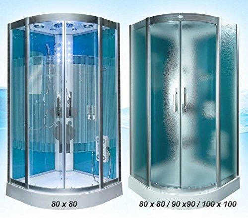 Dampfdusche Dusche Duschtempel Fertigdusche 80x80 90x90 100x100 AcquaVapore DTP8046 HBL-SS-DF, EasyClean Versiegelung der Scheiben:2K Scheiben Versiegelung +89.-EUR;Abmessungen:L / 90x90x215cm +20.-EUR