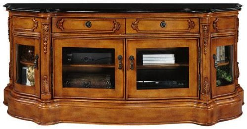 Once you on the lookout buy for Baymont Wide Screen TV Cabinet Stand Golden  Cherry with Glass Doors 25