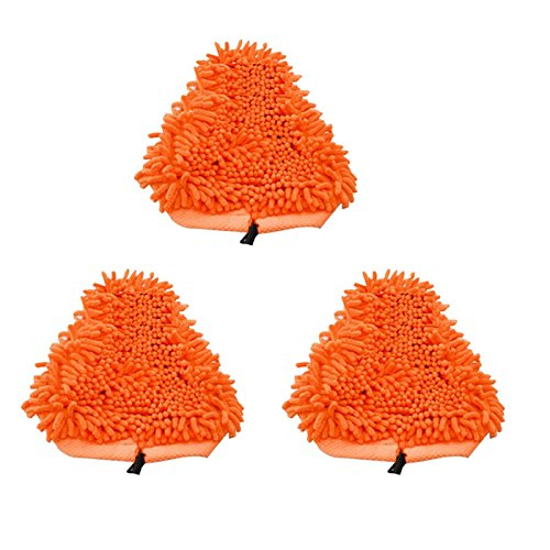 Shp-Zone Orange Washable Ultra Absorbant Heavy Duty Deluxe Coral Microfiber Pads Compatible With T1 H20 H2O Steamboy Mop - 3 Packs
