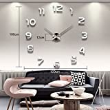 Lecoolife Modern DIY 3D Frameless Large Wall Clock Style Watches Hours Room Home Decorations (Design 6)