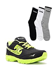 Elligator Black & Green Stylish Sport Shoes With Puma Socks For Men's - B0144R06ZI