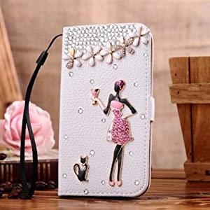 Neekor(TM) Samsung Galaxy Ace 3 GT-S7270 GT-S7272 GT-S7275 Bling Diamond Folio Leather Beautiful Case Cover With Card Holster and Magnetic Flip Horizontals - Sweet Women Kitty 4 Flowers