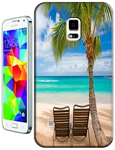 Cell Phone Case Beach Design Beautiful Sunshine Water Trees For Samsung Galaxy S5 I9600 No.4