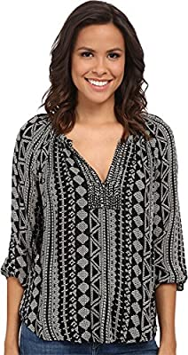 Velvet by Graham & Spencer Women's Dominica03 African Print Long Sleeve Shirt