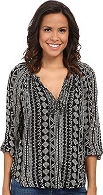Velvet by Graham & Spencer Women's Dominica03 African Print Long Sleeve Shirt