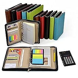 Loghot PU Binder Business Zippered 6-ring Portfolio Woven Pattern Zipper Notebook with Filler Paper, Pagefinder Ruler, Calculator, Clear PVC Card Bag (A6, Red)