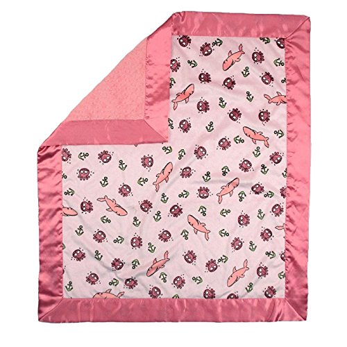 "My Blankee Sharkies Minky Pink w/ Minky Dot Watermelon Baby Blanket, 30"" x 35"""