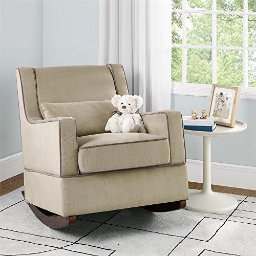... Microfiber Rocker Chair and Free Lumbar Pillow, Beige Furniture