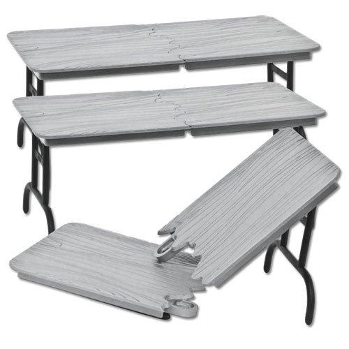 other action figures set of 3 silver breakable tables for wwe jakks mattel wrestling action. Black Bedroom Furniture Sets. Home Design Ideas