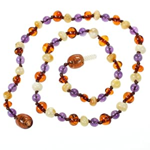 Genuine Baltic Amber and Natural Amethyst Teething Necklace for Baby - Butterscotch and Cognac Amber and Amethyst