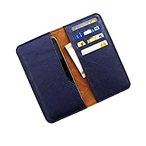 i-KitPit : PU Leather Wallet Flip Pouch Case For Karbonn A1 + (NAVY BLUE)