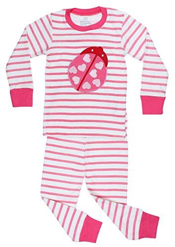 "Elowel Striped ""Ladybug"" 2 Piece Pajama Set 100% Cotton - Size 8 front-976159"