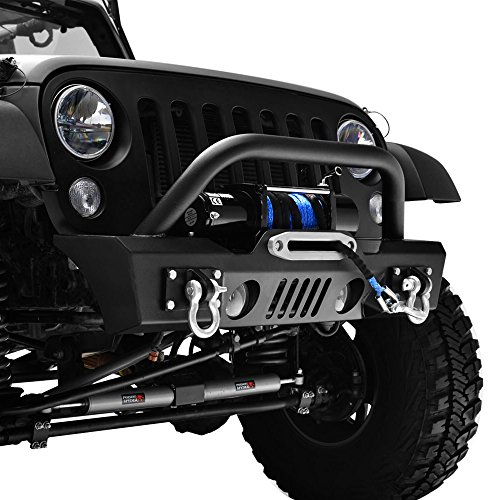 GSI-07-16-Jeep-Wrangler-JK-Black-Textured-Short-Stubby-Front-Bumper-With-Fog-Lights-Hole-2x-D-Ring-Winch-Plate