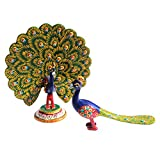 Handicrafts Paradise Metal Enamelled Set Of Two Peacocks