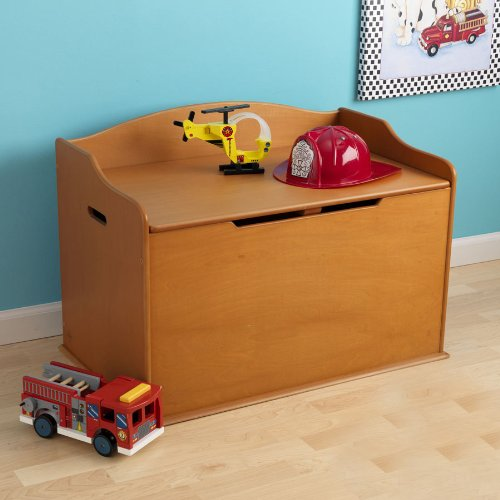 Kidkraft Austin Kids Children Toy Storage Organizer Wooden Chest Bench Deck Box Nursery Furniture - Honey