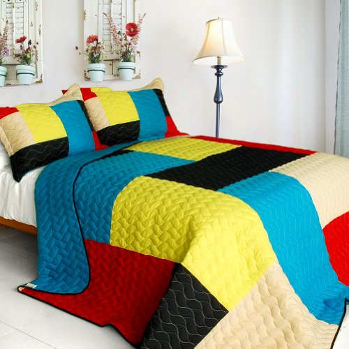 [Love In Sunlight] 3Pc Vermicelli-Quilted Patchwork Quilt Set (Full/Queen Size) front-927321