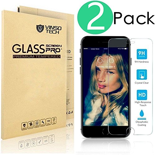 (2 Pack) iPhone 6 Plus Screen Protector,VINSO TECH [3D Touch Compatible - Tempered Glass] [Lifetime Warranty] [Most Durable] fit iPhone 6 Plus and iPhone 6s Plus 5.5