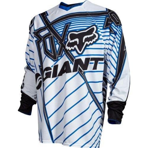 Fox 2012 Men's Giant 360 Long Sleeve Bike Jersey - 01112 (White/Blue - L)