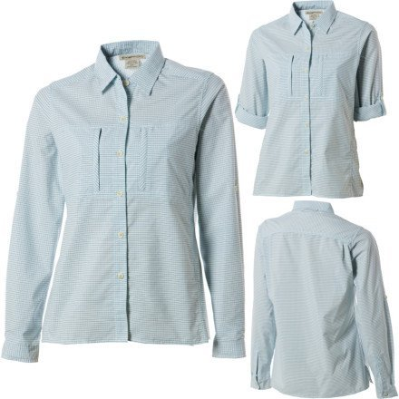 ExOfficio Women's Dryflylite Check Long Sleeve Shirt,Pale Eucalyptus,X-Small