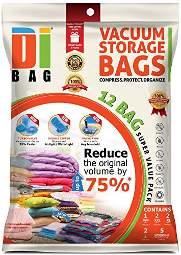 DIBAG 12 Bags Pack Set - Vacuum Storage Space Saver Bags. 1 Super Jumbo (51