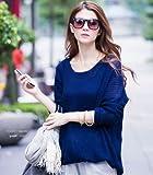 【SUNNY ANGEL】ブラウジングのシルエットがキレイな シンプル ニット トップス チュニック セーター シャツ ワンピ /ネイビー/M/D017