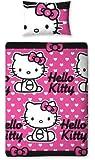 Character World HEL-HTS-MS2-MSC-06 Hello Kitty Hearts Parure de Lit 1 pers Housse de couette (135cm x 200cm) et 1 taie d'oreiller (48x74cm) Dessin à répetiton- 100% Polyester