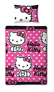 Character uk hello kitty parure de lit hearts 135 x 200 cm - Parure de lit hello kitty 1 personne ...
