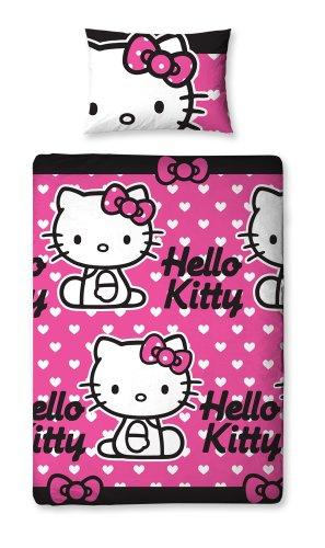 Character World 135 x 200 cm Hello Kitty Hearts Single Rotary Duvet Set