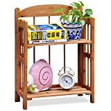 Tinxs Folding Wooden Pine Display Bookcase Bookshelf Craft Fairs Storage 2,3,4 Tiers (Brown, 2Tiers)