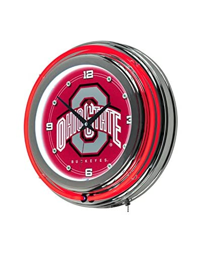 Trademark Global The Ohio State University Neon Clock, Red