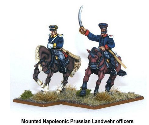 Black Powder 28mm Napoleonic Prussian Landwehr Officers Mounted