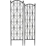 Bentley Garden Wrought Iron Set Of 2 Metal Flower Trellis Climbing Plant Support - Black