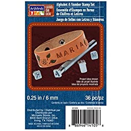 Art Minds Leather Alphabet & Number Stamp Set 1/8 in / 3 mm. 36 Pc by ArtMindsTM Alphabet & Number Stamp Set