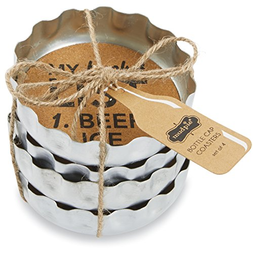 Mud Pie Beer Bottle Coasters (Set of 4), Silver (Mud Pie Bucket compare prices)