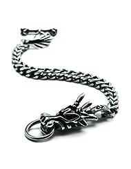 QUICKONE Unisex Gothic Classic China Dragon Animal Biker Stainless Steel Bracelet JKA93 22