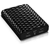 HooToo Prism HT-EC01 12000mAh Power Bank / External Battery Pack Charger, 5V/1A 2A Dual USB Output, LED light - Black