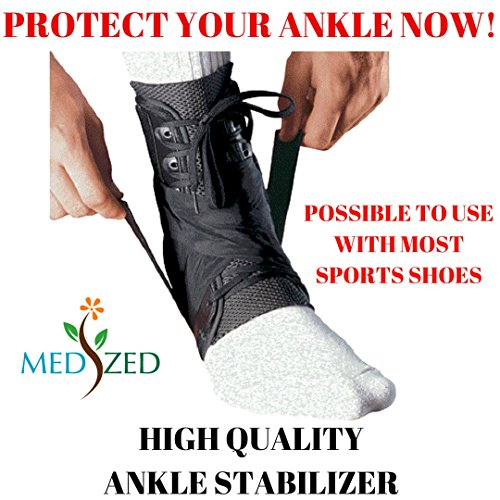 MEDIZED Ankle Stabilizer Brace Support Guard Protector Sports Safety Foot Strain Stirrup Compression Strap Speed Lacer Soccer Baseball Netball Volleyball (Large) (Netball Shoes compare prices)